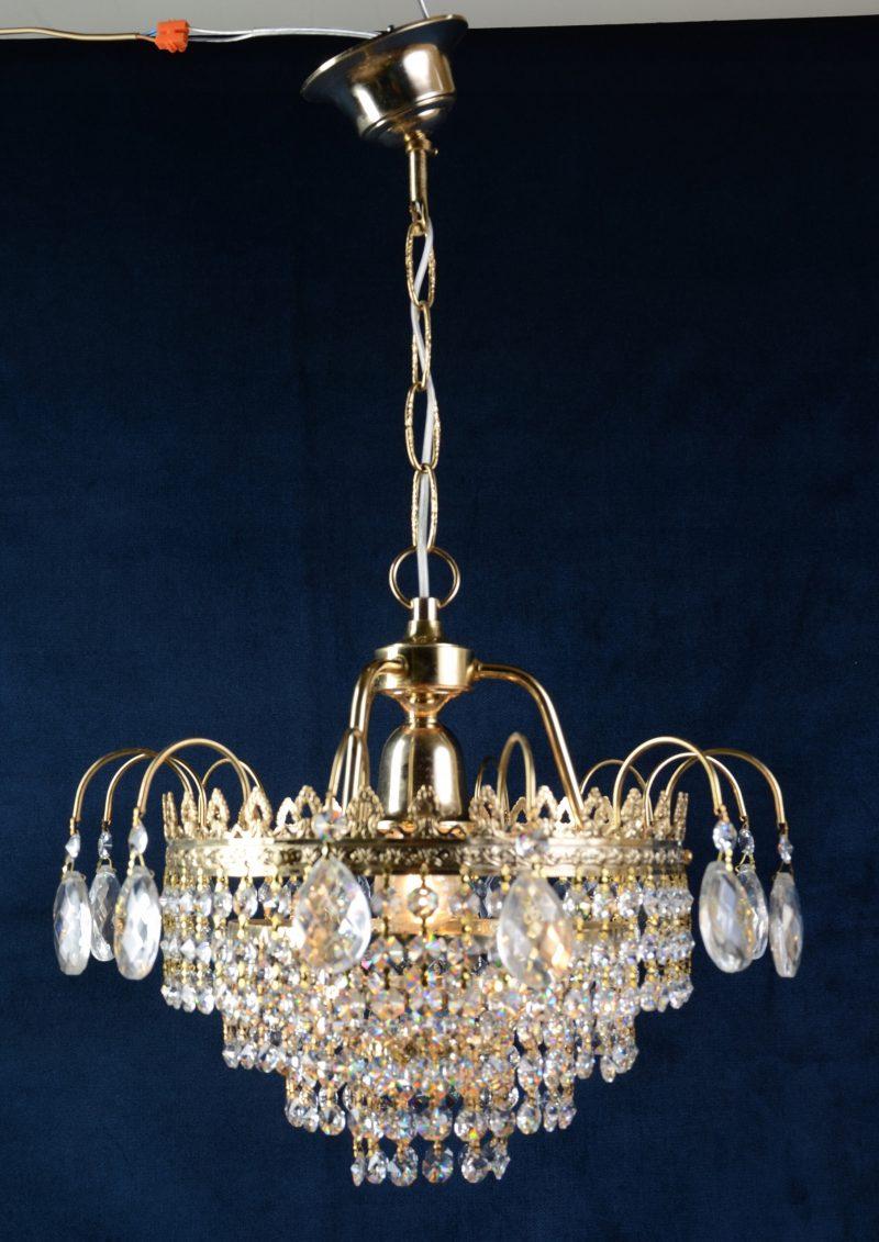 Wyjątkowa lampa złota kryształy Hiszpania 60-521