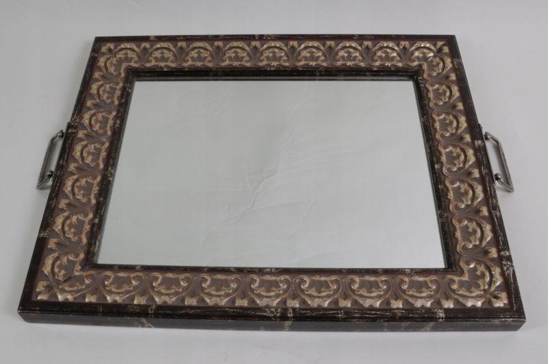 Piękne drewniana taca z lustrem Hiszpania 823