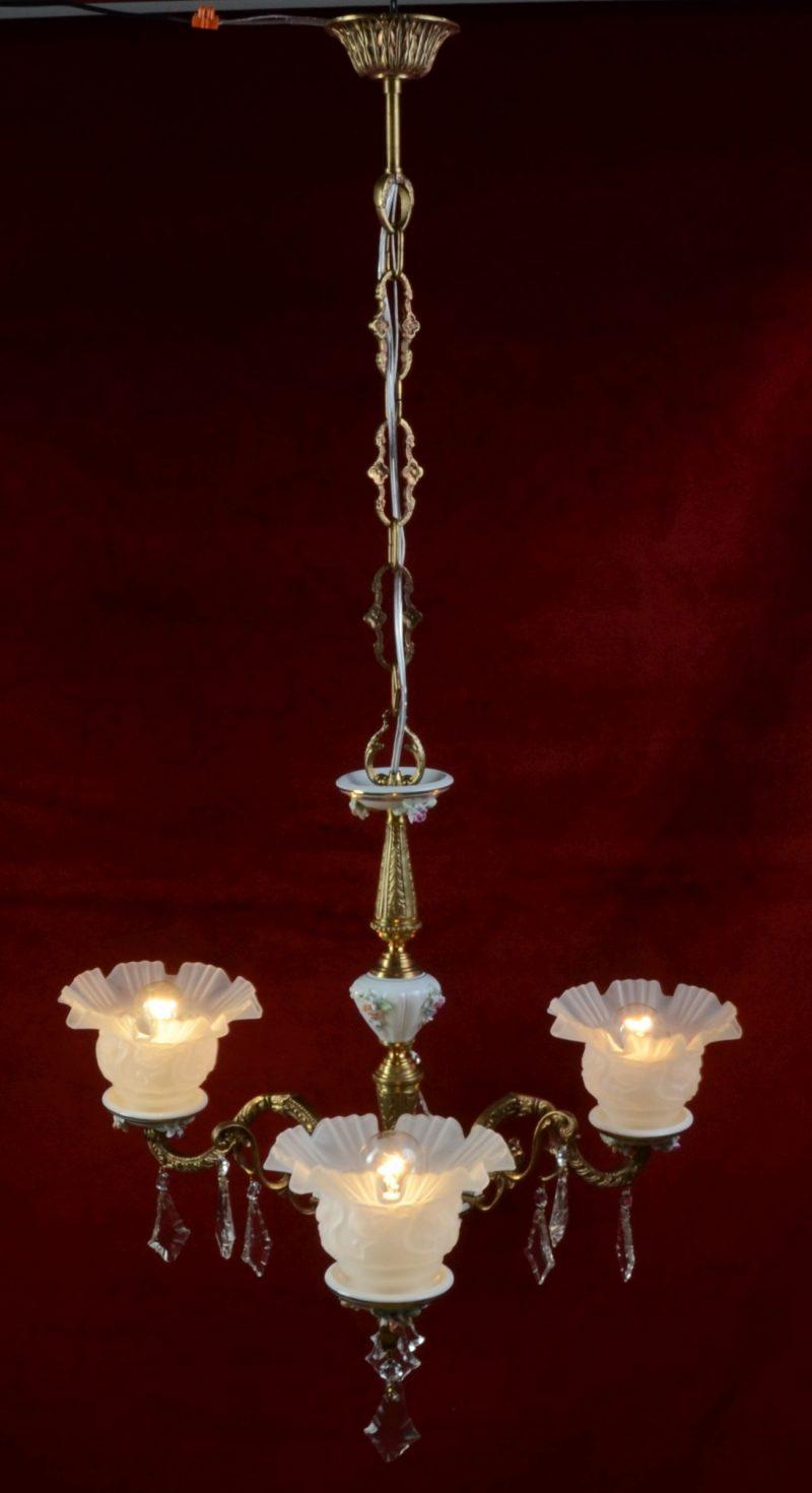 3-ramienny żyrandol brąz porcelana Portugalia-14